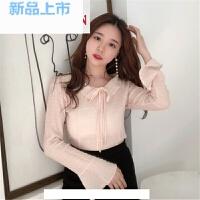 雪纺上衣仙甜美春装2018新款韩版短款喇叭袖女士洋气小衫时尚