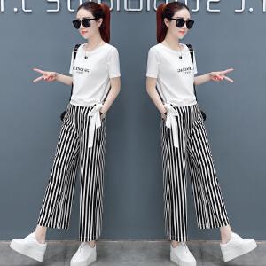 安妮纯时尚阔腿裤套装女短袖韩版2019夏季新款女神范裤子两件套洋气女装