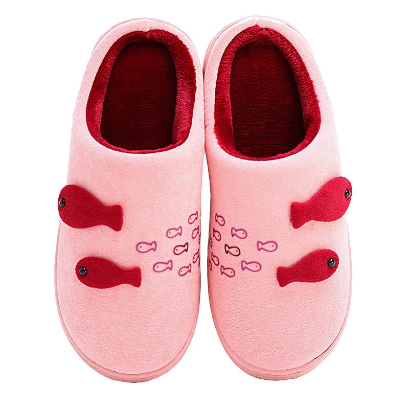 秋冬室内家居棉拖鞋女高跟坡跟防滑冬季卡通可爱厚底韩版pu皮拖鞋