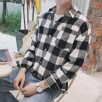 新款2018男士长袖男士个性长袖衬衫港风男士格子衬衣潮流