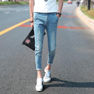 九分牛仔裤男休闲裤韩版小脚九分裤紧身显瘦9分裤 一般在付款后3-90天左右发货,具体发货时间请以与客服协商的时间为准