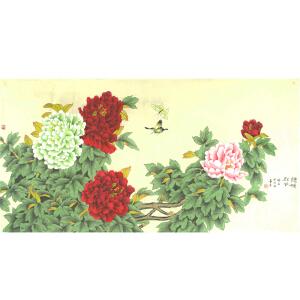 紫珊瑚画院一级美术师 鲁青 《统领群芳》132*66cm