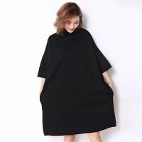 250斤大码女装秋装 胖mm超大号蝙蝠袖连衣裙宽松显瘦中长款套头裙 大码均码
