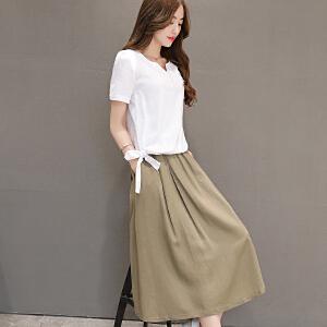 安妮纯棉麻连衣裙2019春夏季女装新款时髦套装裙两件套亚麻气质中长裙子