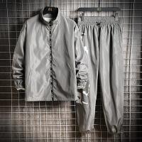 外套春秋韩版男士潮流秋装立领夹克男19新款宽松休闲套装男两件套