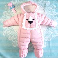 婴儿连体衣冬季加厚羽绒棉衣服宝宝外出服新生儿套装包脚抱被保暖