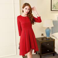 新款连衣裙欧洲站秋装大码女装中长款小黑裙不规则显瘦打底裙