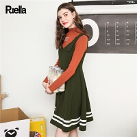 装新款韩版中腰纯色时尚v领收腰显瘦百搭无袖散摆背带裙女