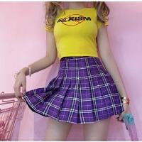 韩国INS同款紫色格子裙高腰百褶裙A字短裙 18ss女款
