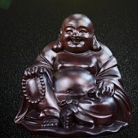 黑檀车载木雕佛像弥勒佛摆件汽车雕刻工艺品实木坐式笑佛礼品