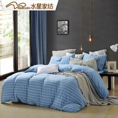 水星家纺针织棉四件套全棉裸睡纯棉床上用品简约风套件简·声律