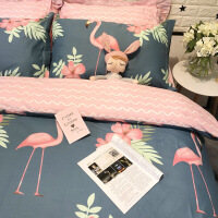 全棉卡通简约儿童单人床三件套1.2米床上用品棉被套床笠四件套 火烈bird 蓝W