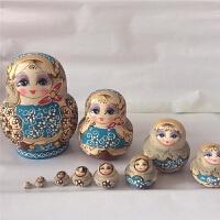 俄罗斯套娃10层手工艺品 椴木大肚娃娃节日礼物儿童玩具