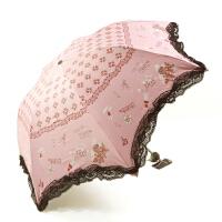 天堂伞 黑胶蕾丝花边防紫外线遮阳伞 铅笔伞 三折晴雨伞 55CM*7K 多色可选!