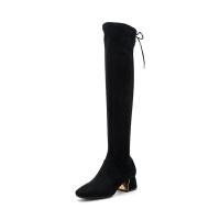 星期六(ST&SAT)冬季专柜同款织物金属跟过膝长靴女SS84117809
