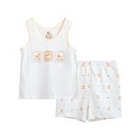儿童薄款休闲圆领无袖背心套装男童女宝宝婴儿夏装内衣
