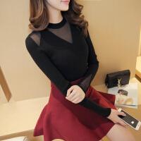 2018春装新款韩版女装低圆领蕾丝拼接针织衫修身百搭打底衫毛衣 均码