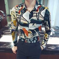 新款18秋冬男式潮流印花加大码长袖衬衫韩版修身青年免烫休闲衬衣