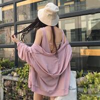 韩版时尚休闲套装春夏女装宽松连帽防晒上衣外套+吊带背心两件套