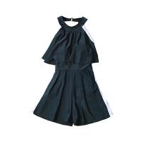 保守泳衣女士大码连体裙式黑色温泉韩国显瘦遮肚大胸小胸聚拢泳装 黑色
