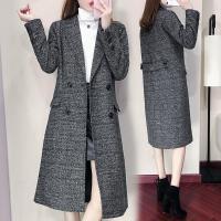 春秋冬装新款女装黑色呢子大衣女中长款韩版时尚千鸟格毛呢外套女