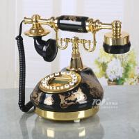 黑色陶瓷烫仿古电话机家用老式座机客厅固定电话机