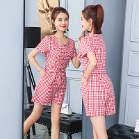 格子连体裤女夏季2018新款韩版时尚高腰显瘦宽松洋气阔腿短裤套装