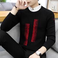 衬衫领毛衣冬潮流休闲假两件针织衫修身款带领线衣学生厚外套男装