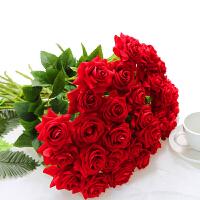 假花单支玫瑰花束仿真插花婚庆家居客厅摆件