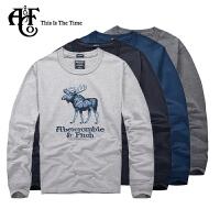 Abercrombie & Fitch新款A&F男式纯棉圆领修身贴布绣中厚长袖T恤0138
