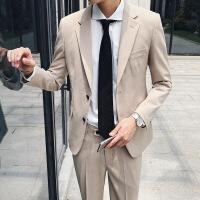 秋季男士韩国休闲色小西装外套青年英伦修身西服套装结婚礼服潮