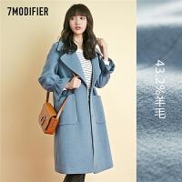 毛呢外套女中长款2018新款赫本风显瘦小个子韩版加厚呢子大衣秋冬