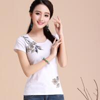 民族风女装 印花短袖t恤女上衣夏装新款中国风修身显瘦打底衫