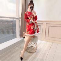 旗袍女改良长袖秋冬季年轻2018新款女装新娘敬酒服中国风唐装秋装 红色