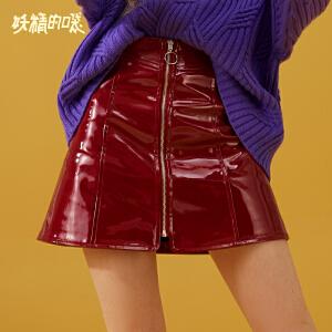 【限时直降:105】妖精的口袋Y早秋半身裙女短款半裙潮秋装新款欧货皮裙包臀裙