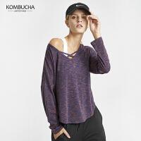 【限时秒杀】Kombucha运动健身长袖T恤女士宽松透气V领长袖运动T恤健身跑步上衣K0771