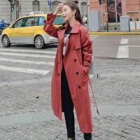 孕妇孕妈风衣2019春装新款韩版中长款女士春秋季休闲长款过膝宽松风衣外套