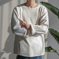 卫衣男装2018春秋季新款白色韩版打底衫潮纯色薄衣服男士运动外套