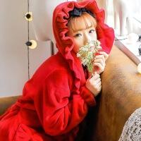 【内衣优选】秋冬季法兰绒睡袍女荷叶边珊瑚绒睡衣加长款浴袍可爱家居服