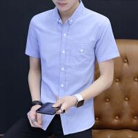 色男士短袖衬衫韩版修身衬衣2018夏季新款青年休闲半袖寸衫154