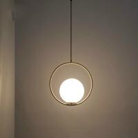餐厅玄关过道极简金色圆环月球吊灯简约床头衣帽间灯具