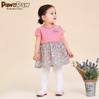 【3件3折 到手价:179】Pawinpaw卡通小熊童装夏季款女宝宝拼色碎花针织连衣裙
