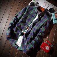 格子衬衫男长袖青少年14帅气15韩版16岁男孩初中学生纯棉修身衬衣