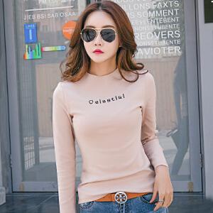 春装新款棉质t恤女长袖字母印花修身显瘦打底体恤衫衣服