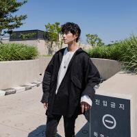 卡其色男士风衣2018新款秋季韩版中长款格子拼接外套男宽松连帽