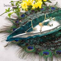 创意家居客厅摆件孔雀羽毛垫装饰品样板房现代欧式摆台