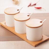 陶瓷调味罐套装创意调味瓶套装调料盒厨房调料罐三件套