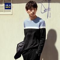 HLA/海澜之家圆领长袖T恤2019秋季新品简约条纹舒适长T男