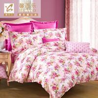 【年货直降】富安娜出品 馨而乐家纺田园清新风格床上用品套件 纯棉斜纹四件套