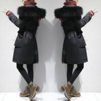 2018新款中长款羽绒服女过膝时尚韩版修身白鸭绒冬装加厚派克外套 黑色(真貉子大毛领)